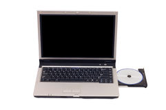 Laptop isolated on white, open cd tray Stock Image