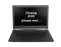 Laptop isoleerde - Nieuwjaar - 2020 - 2021 Stock Foto's