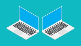 Laptop isometric with blue screen angle left and right stock illustration