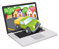 Laptop and jeep Royalty Free Stock Image