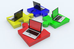 Laptop jigsaw puzzle. Stock Images