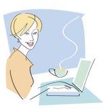 laptop kawowa szczęśliwa kobieta ilustracja wektor