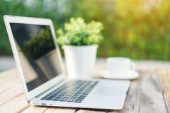 laptop kawy Fotografia Stock
