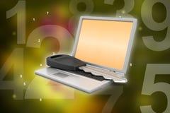 Laptop on key Stock Photo