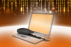 Laptop on key Royalty Free Stock Image