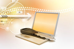 Laptop on key Royalty Free Stock Photography