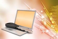 Laptop on key Royalty Free Stock Photo