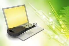 Laptop on key Stock Image