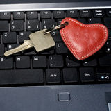 Laptop key with heart Royalty Free Stock Photo