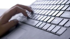 Laptop keyboard. With lateral light Stock Photography