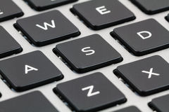 Laptop keyboard With Black Keys. Closeup.  Royalty Free Stock Photography