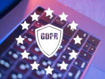 Laptop keyboard blurred background using digital GDPR interface.  Royalty Free Stock Image