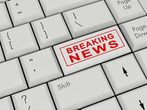 Laptop Keyboard  Breaking news Royalty Free Stock Photos