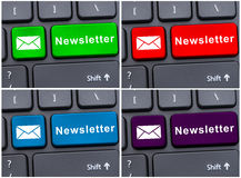 Laptop keyboard button with newsletter Stock Images