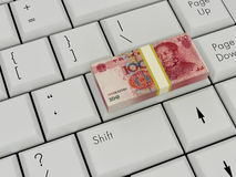 Laptop Keyboard With chinese money Stock Photo