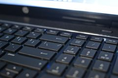 A laptop keyboard close-up. Programming. Website development.  Stock Images