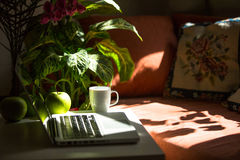 Laptop keyboard in a cosy home or office. Distant Work. Royalty Free Stock Photo