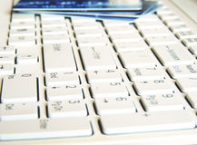 Laptop keyboard with credit cards Stock Photography