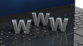 Laptop keyboard with 3d WWW letter Stock Photography