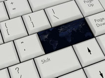 Laptop Keyboard With Earth Royalty Free Stock Photography