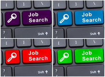 Laptop keyboard with job search key Royalty Free Stock Image