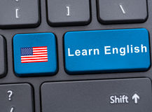 Laptop keyboard with learn english button Stock Images