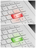 Laptop Keyboard with Lock and Unlock Buttons.  Stock Image