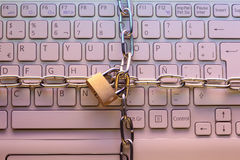 Laptop keyboard locked with a padlock Stock Image