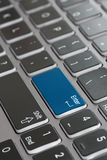 Laptop keyboard macro close up fading enter blue royalty free illustration