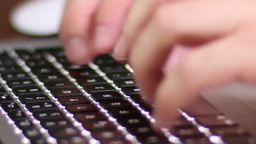 Laptop Keyboard. Man typing on keyboard MacBook Pro laptop stock video