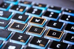 Laptop keyboard. A laptop navigation buttons on the keyboard Stock Photo