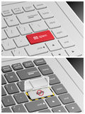 Laptop Keyboard with Spam Buttons.  Royalty Free Stock Photography