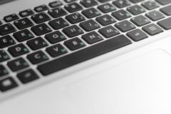 Laptop keyboard with Russian letters.  royalty free stock photos