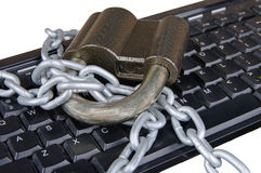 Laptop keyboard secured Royalty Free Stock Images