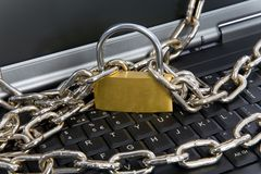 Laptop keyboard secured Stock Images