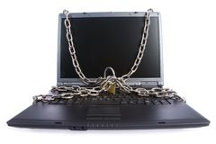 Laptop keyboard secured Royalty Free Stock Image