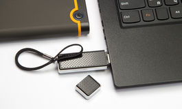 Laptop keyboard and usb flash Royalty Free Stock Photo