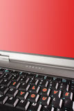 Laptop keyboard with words I love you and red screen copyspace Stock Photo