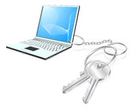 Laptop keys access concept Royalty Free Stock Images