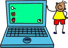 Laptop kid. Little ethnic boy standing next to giant laptop computer - toddler art series Royalty Free Stock Photos