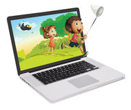 Laptop and kids Stock Photos