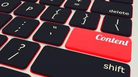 laptop klawiatura z czerwieni zawartości guzikiem, pracy pojęcie ilustracja 3 d ilustracji