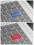 Laptop klawiatura z Dodaje gdy przyjaciel i Unfriend guziki Obrazy Stock