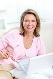 laptop kobieta Obraz Stock