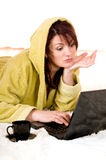 laptop kobieta Zdjęcie Stock