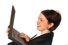 laptop kobieta Fotografia Stock