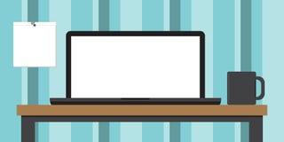 Laptop Koffiemok en Datumboek op een Bureau Royalty-vrije Stock Fotografie