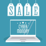 Laptop labels and cyber monday design Stock Photo
