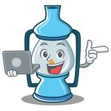 With laptop lantern character cartoon style. Vector illustration Royalty Free Stock Photography