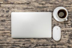 Laptop. Top white macbook isolated table nobody Stock Image